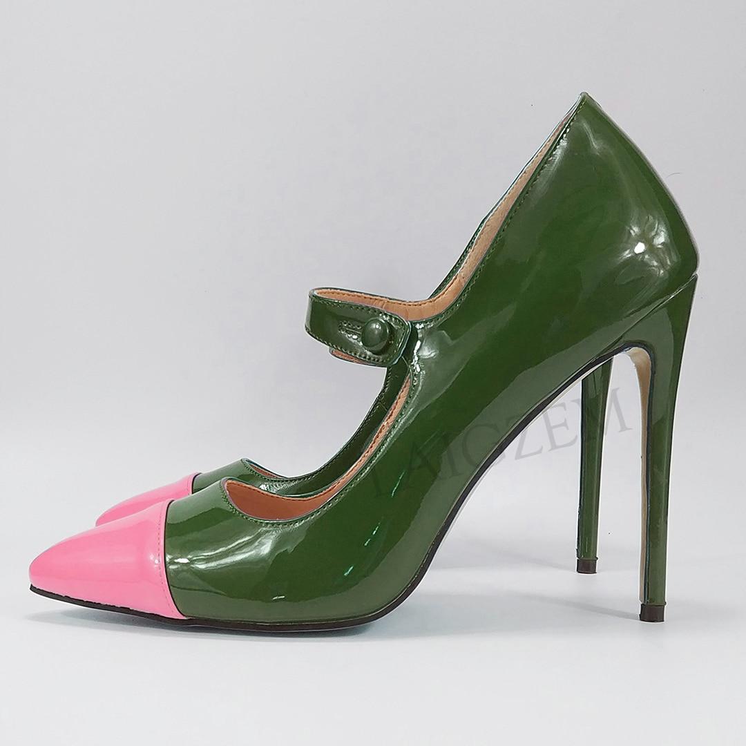 LAIGZEM coloré 2020 femmes talons pompes couleur contraste Mary Jane basique bureau dame chaussures femme Zapatos Mujer grande taille 34 47-in Escarpins femme from Chaussures    3