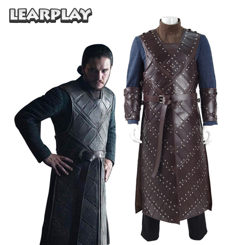 Game Of Thrones Season 6 Jon Snow Stark Armor Cosplay Costumes Man Battle Suit A Song of Ice and Fire Halloween Uniform