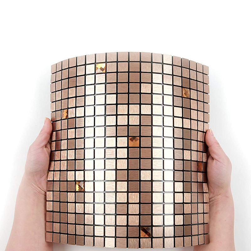 Homey Mosaic Fireproof Modern Peel and Stick Wall Tile Waterproof 3D Self adhesive Wall Sticker 12inch for Wall Decor Rose Gold