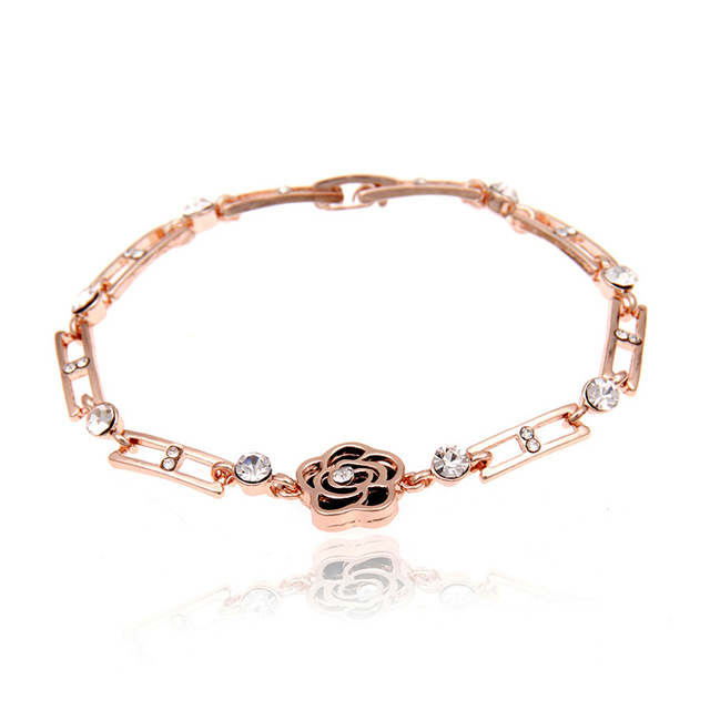 Trendy Women Crystasl Italian Bracelet Charms Rose Flower Party Jewelry Brand Simple Design Mothers Day Gifts
