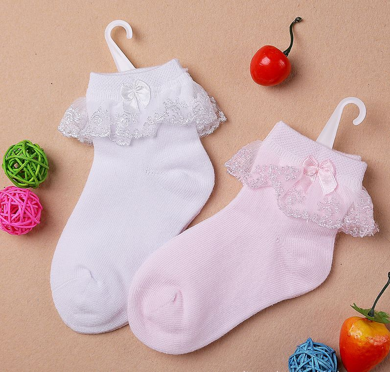 New Cotton Socks With Bow Baby Kids Children's Girls Lace Socks For 2-12 Years Old