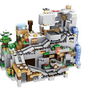Image 5 - 1000Pcs Bouwstenen De Berg Grot Met Lift Waterval Cijfers Bricks Onderwijs Speelgoed Voor Kinderen Kids Geschenken