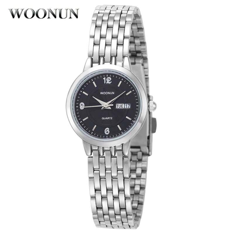 WOONUN Top Brand Relojes de lujo Mujeres Plata Acero Fecha Semana - Relojes para mujeres