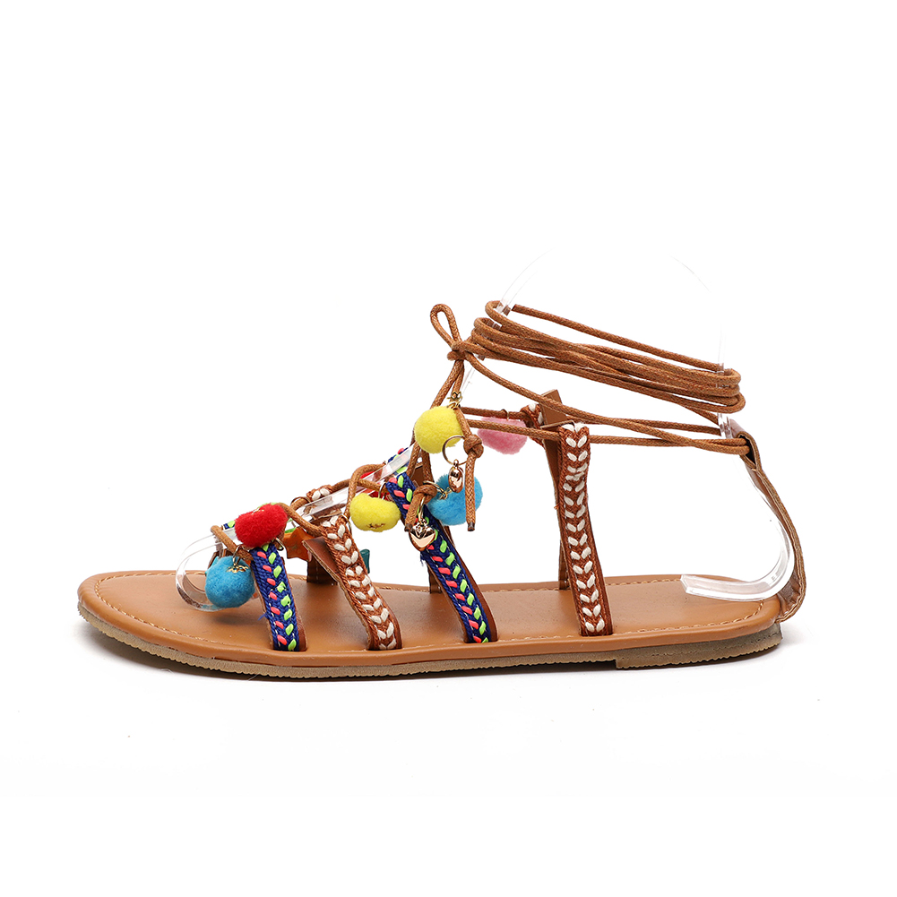 2018 Summer Ethnic Bohemian Woman Pompon Sandals Gladiator Roman ankle strap flat shoes lace up summer Boho Shoes women  2018 Summer Ethnic Bohemian Woman Pompon Sandals Gladiator Roman ankle strap flat shoes lace up summer Boho Shoes women