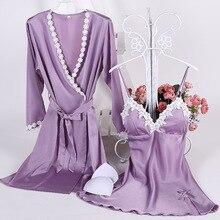 ladies bathrobes imitation silk silk gown units horny lace sleepwear prime quality satin v-neck indoor lingerie set