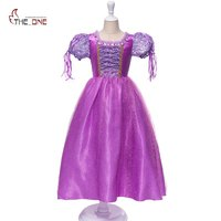 MUABABY Girl Sofia Dress Children 5 Layers Rapunzel Purple Flower Princesss Costume Kids Girl Birthday Party