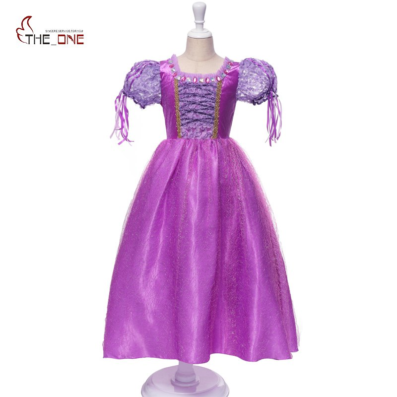 MUABABY Girl Sofia Dress Children 5 Layers Rapunzel Purple Flower Princesss Costume Kids Girl Birthday Party Dresses Ball Gown sofia princess kids dress lovely purple