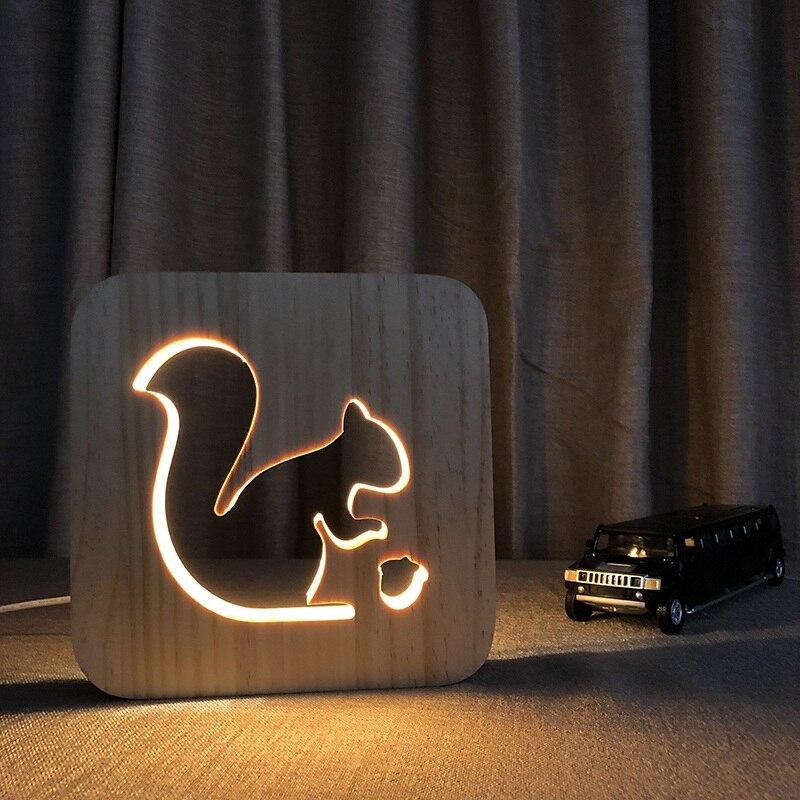 DIY Customized Wooden 3D Night Light Lovely Squirrel Party Kid Desk Tabel Lamp LED Lighting Gift USB Decor Nightlight IY801101
