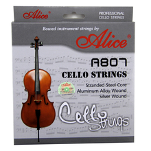 Alice  A807Cello Strings Stranded Steel Core Aluminum Alloy Wound Silver Wound Nickel-Plated Ball-End 6 pieces set alice electric guitar strings steel core plated steel coated nickel alloy wound guitar parts strings super light