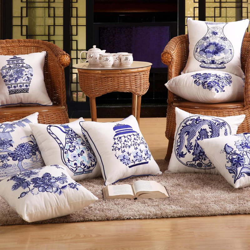 Throw Pillows For White Sofa : Decorative Cotton Cushion Cover in Chinese Blue white Porcelain 43X43Cm 1 Piece Sofa Home Decor ...