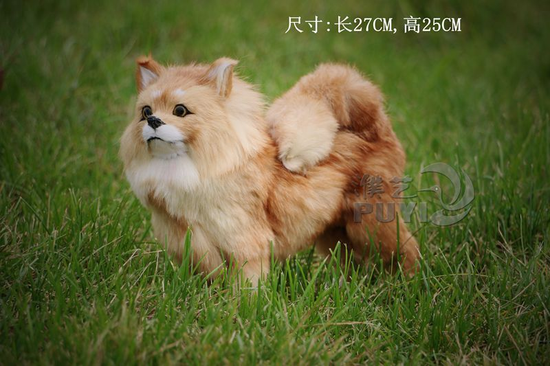 creative simulation dog toy imitate Pomeranian model gift about 27x25cm toy t014 simulation pomeranian dog 29x25cm hard model polyethylene