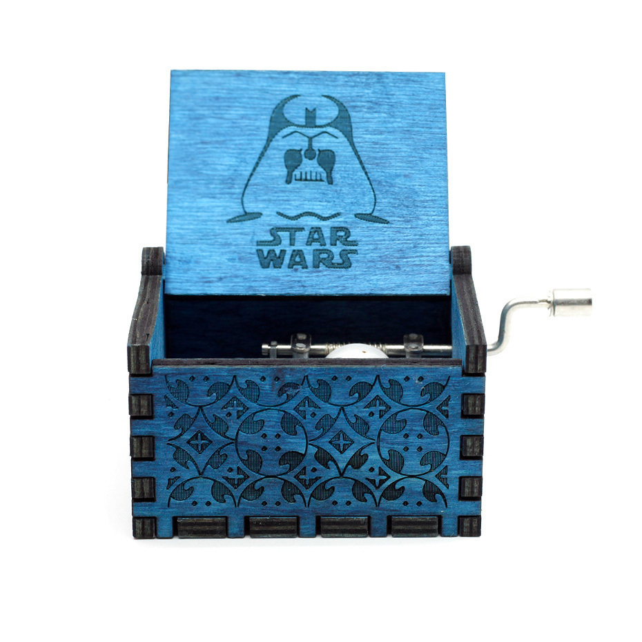 New Carved Queen Music Box Star Wars Game of Throne Castle In The Sky Hand Cranked Wood Music Box Christmas Gift - Цвет: Star War