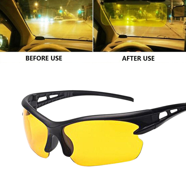 6bf9f58f18c 1PC Night Vision Goggles HD Vision Night Driving Glasses Wind UV400  Protection Sunglasses Anti Glare Unisex Yellow Glass Women