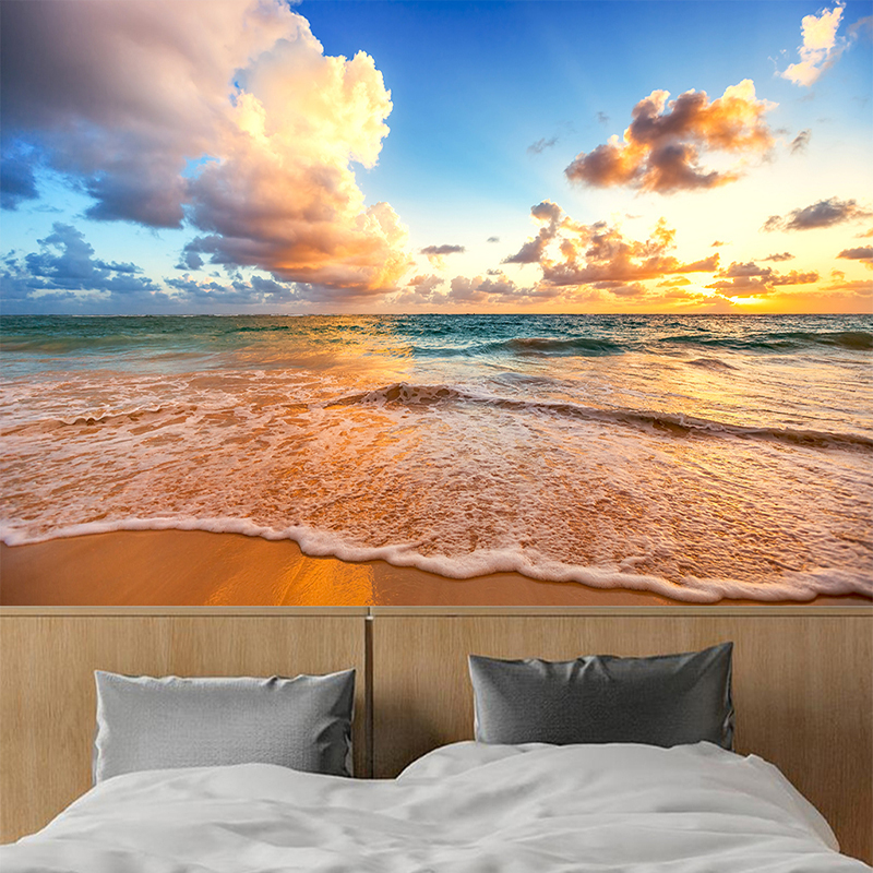 Custom Photo Mural Wallpaper 3D HD Beautiful Sky Beach Waves Landscape Mural Living Room Bedroom Background Wall Painting Decor