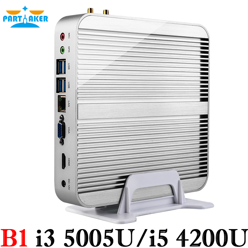 Fanless PC 4K mini pc i5 4200u with Core i5 4200U i3 4010U i3 5005U 1.6Ghz CPU Haswell Architecture SOC design aluminum chassis