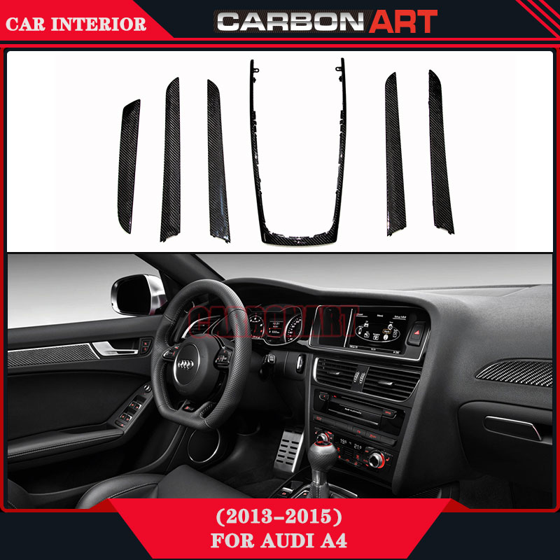 For Audi A4 Carbon Fiber Interior Car Accessories 2013-2015 Car Styling Trims Real Carbon Fibre for nissan r34 gtr carbon fiber radio surround stick on type rhd fibre interior garnish car styling in stock