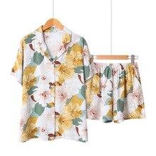 잠옷 세트 여름 새 여자 턴 다운 목 셔츠 + 반바지 2 pcs 편안 느슨한 잠 옷 꽃 인쇄 숙 녀 새틴 homewear 세트