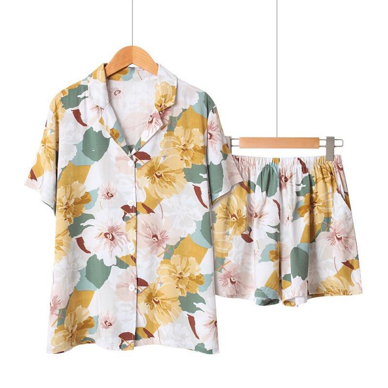 Pajamas Set Summer New Women Turn-down Neck Shirt+Shorts 2Pcs Comfort Loose Sleepwear Floral Printed Ladies Satin Homewear Set