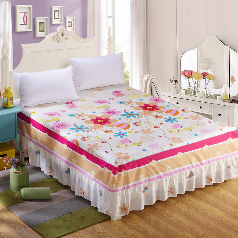 1pc New 100% Cotton Bespread Fashion Soft Comfortable Bed Skirt Non-slip Queen King Size Fitted Bed Sheet