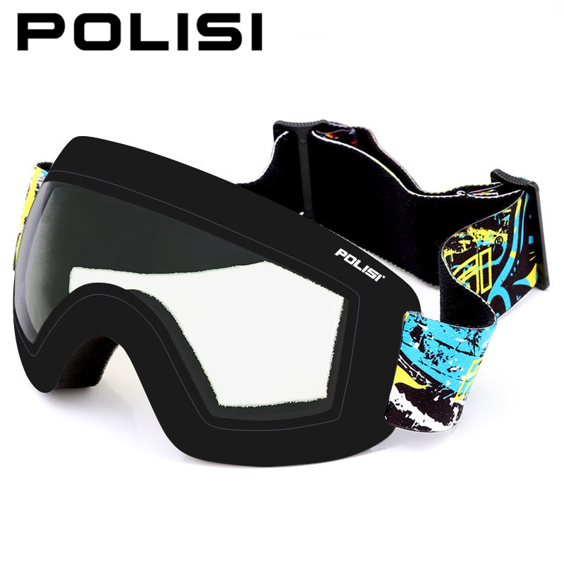 POLISI Winter Skiing Goggles UV Protection Double Layer Anti-Fog Lens Professional Snowboard Snow Glasses Eyewear, Clear lens topeak outdoor sports cycling photochromic sun glasses bicycle sunglasses mtb nxt lenses glasses eyewear goggles 3 colors
