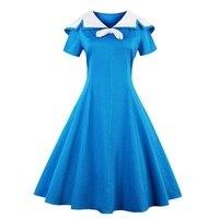 Sisjuly Vintage Dress 1950s Style Spring Blue Pin Up Short Sleeve Lapel Women Party Dress Summer