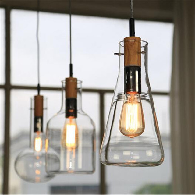 Glass Pendant Light Wood Large Big Lamp Clear Led Lamps Hanging Lights  Wooden Dining Room E27