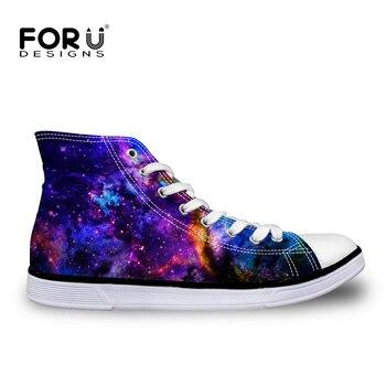 FORUDESIGNS clásico de alto de los hombres vulcanizar zapatos de moda Zapatos de 3D Galaxy Espacio Estrella alto-Top hombres zapatos planos de lona zapatos de ocio