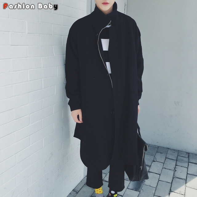 Solta Batwing Manga longa X-Preto De Lã dos homens Trench Coat Único Moda Outono Inverno Da Marca Casacos Outwear Quentes 2016