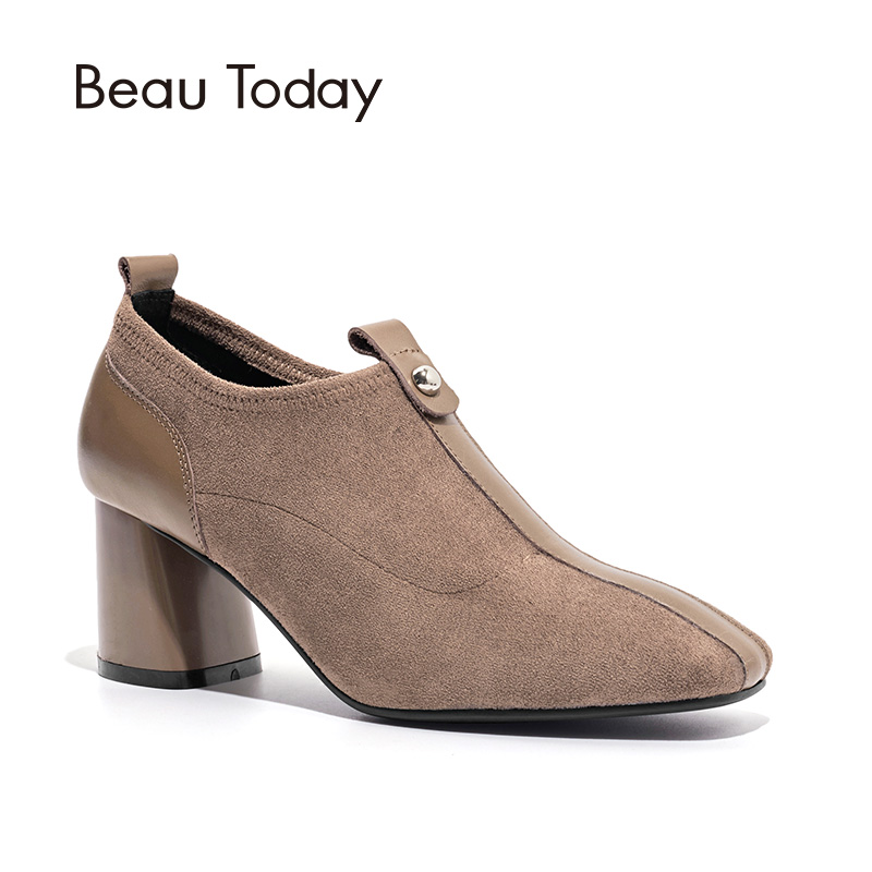 BeauToday Women Boots Genuine Calf Leather Short Boot High Heel New Fashion Spring Autumn Lady Shoes Handmade 15704
