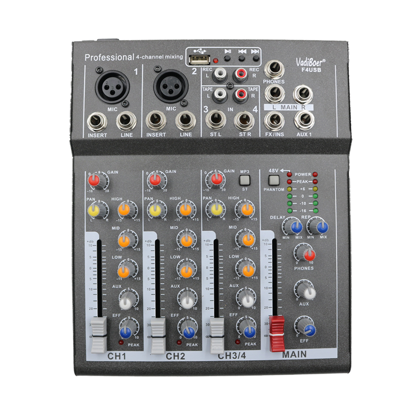 Vadiboer F4USB 4 Channel echo voic effect Mixer For Stage Home Karaoke DJ 48V Phantom power USB echo voic effect audio