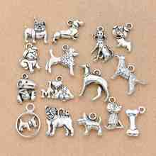 15Pcs Mix Tibetan Silver Plated Dogs Charms Pendants for Jewelry Making Bracelet DIY Accessories Handmade Crafts Findings