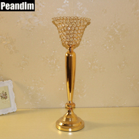PEANDIM Home Decor Wedding Center Pieces Crystal Bowl Gold Candle Lantern K9 Crystal Candlestick Christmas Votive