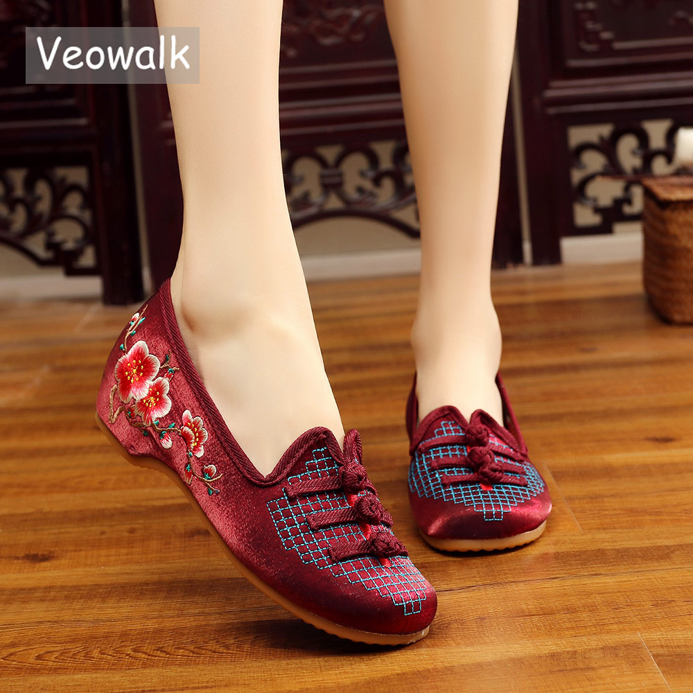 Veowalk Vintage Womens Silk Cotton Embroidered Ballet Flats Ladies Comfortable Slip on Chinese Embroidery Shoes sapato feminino