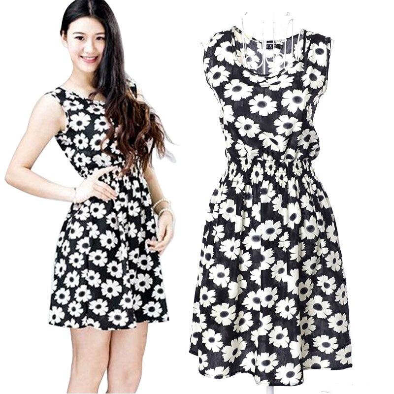 1d2ee532c9b 2016 새로운 레이디 여름 꽃 드레스 여성 여성 캐주얼 쉬폰 민소매 비치 드레스 여성 슬림 허리 짧은 드레스 Vestidos