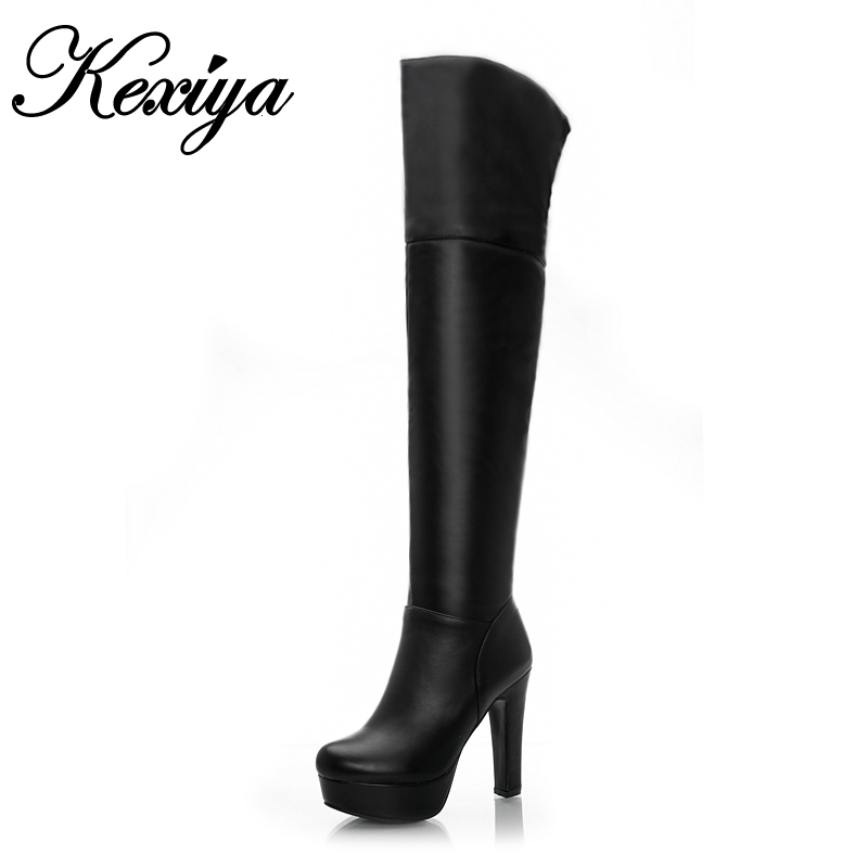 2016 New fashion Solid PU leather women botas big size 31-45 Round Toe Platform white high heel shoes winter Over-the-Knee boots new 2016 fashion women winter shoes big size 33 47 solid pu leather lace up high heel ankle boots zapatos mujer mle f15
