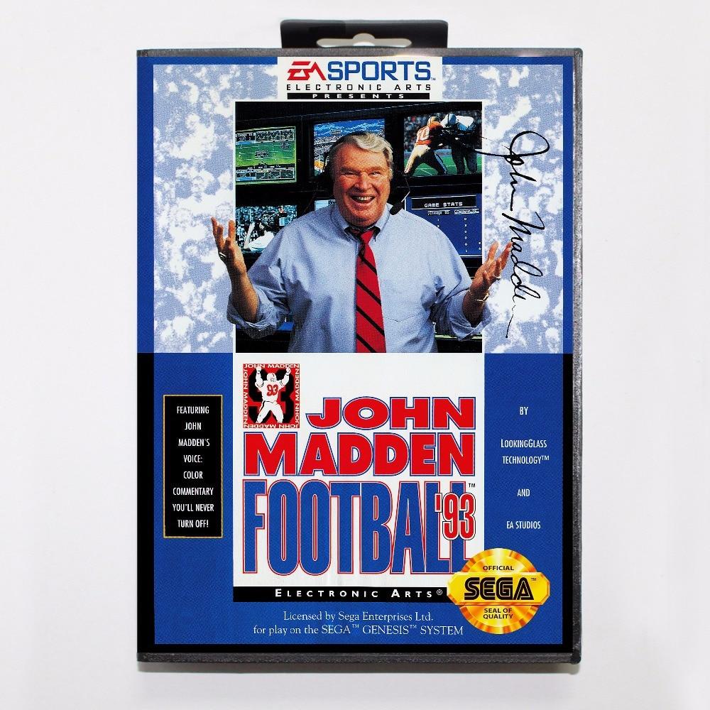 John Madden Football '93 Game Cartridge 16 bit MD Game Card With Retail Box For Sega Mega Drive For Genesis
