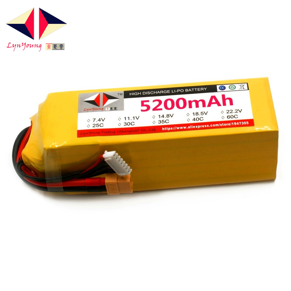 LYNYOUNG 6S Lipo battery 22.2V 5200mAh 40C max 80c For RC Airplane Quadcopter Car helicopter toysLYNYOUNG 6S Lipo battery 22.2V 5200mAh 40C max 80c For RC Airplane Quadcopter Car helicopter toys