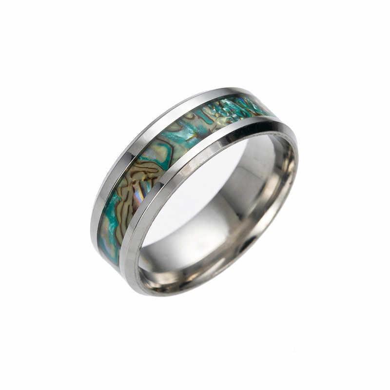 В стиле панк для свадьбы, помолвки раковины Цвет кольцо для Для мужчин кольцо Нержавеющаясталь кольцо на головщину парные кольца * 30