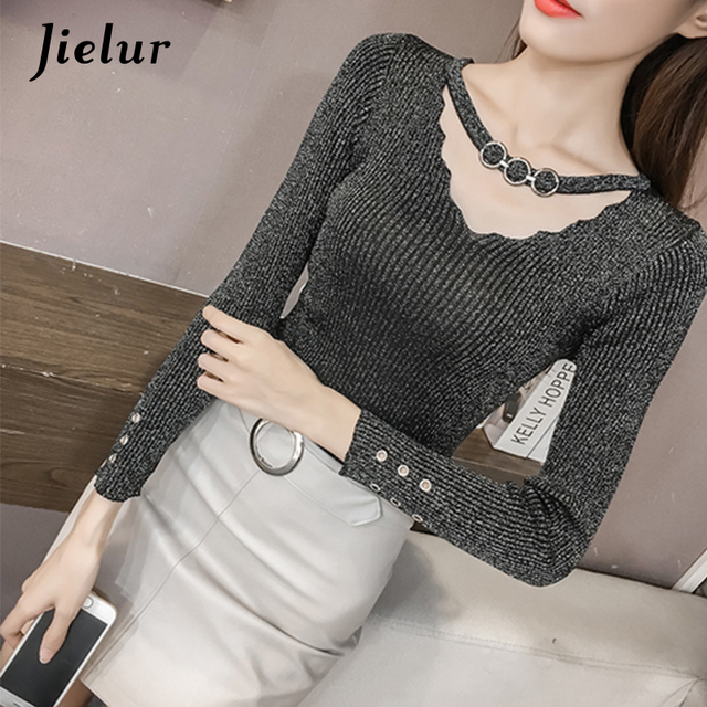 d6f1cafaf9792a Jielur Autumn V-neck Buckles Hollow Lady s Sweater Long Sleeve OL Shine  Knitted Sweater for Women Slim Basic Top Female