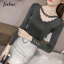 Jielur Autumn V-neck Buckles Hollow Lady's Sweater Long Sleeve OL Shine Knitted