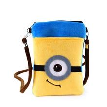 Women Cute Cartoon Plush Mini Minions Coin Purse Wallet Mobile Phone Bag Ladies Teenage Girl Clutch small shoulder Messenger Bag