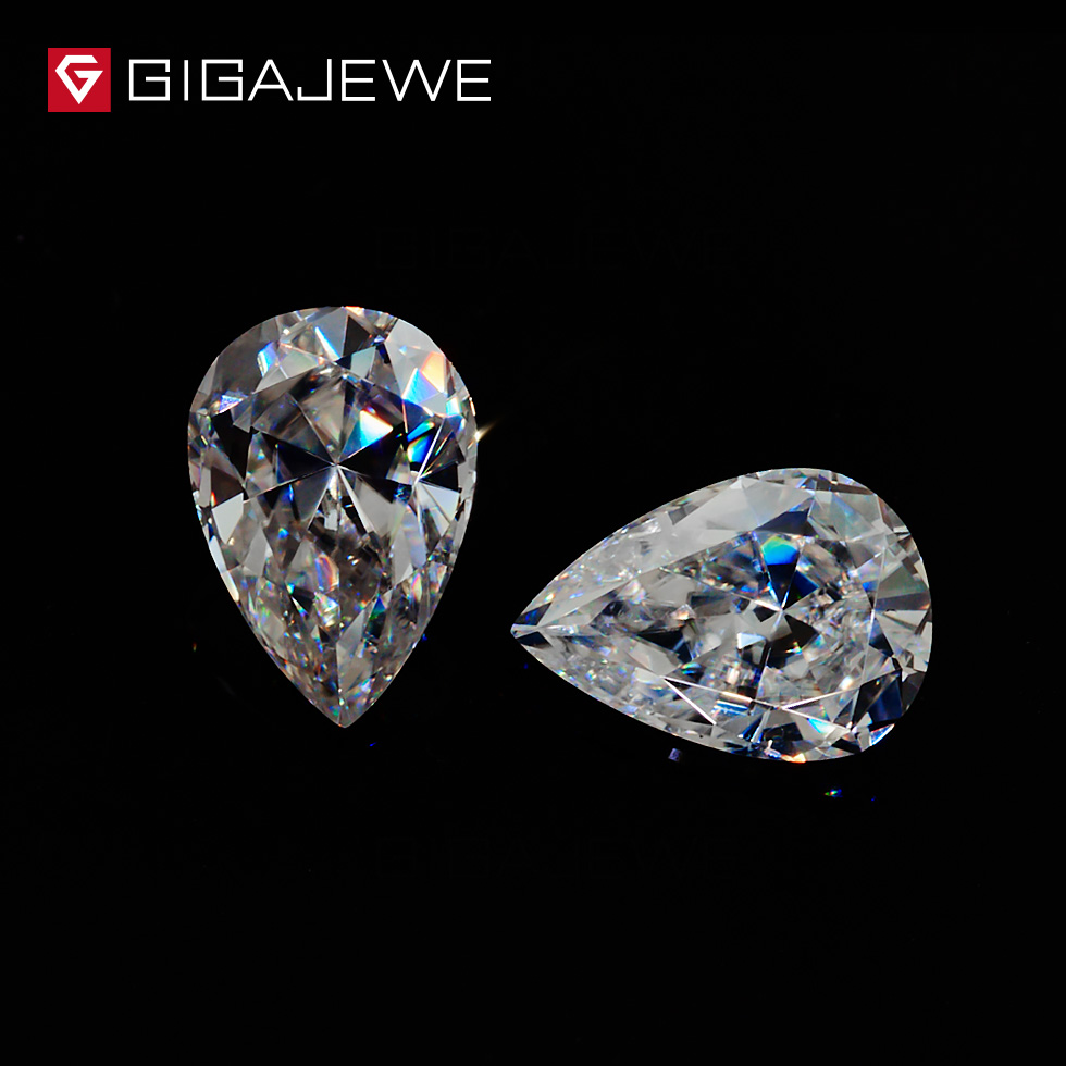 GIGAJEWE Moissanite Pear Cut 6 10mm 1 8ct White G color Loose Beads Gem Decorative Jewelry