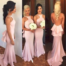 2016 Hot Sale Light Pink Long Bridesmaid Dresses Gowns Sheath Backless Bridesmaid Dress Vestido De Festa De Casamento