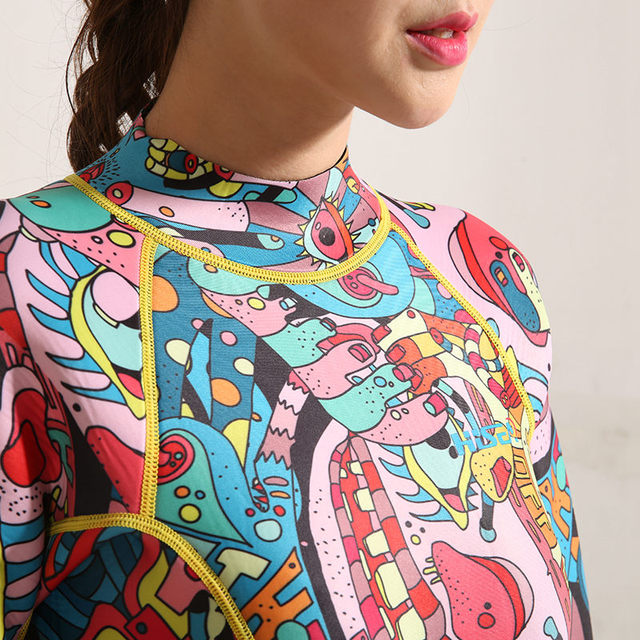 Hisea printing 3mm women neoprene wetsuit color stitching Surf Diving Equipment Jellyfish clothing long sleeved piece fitted