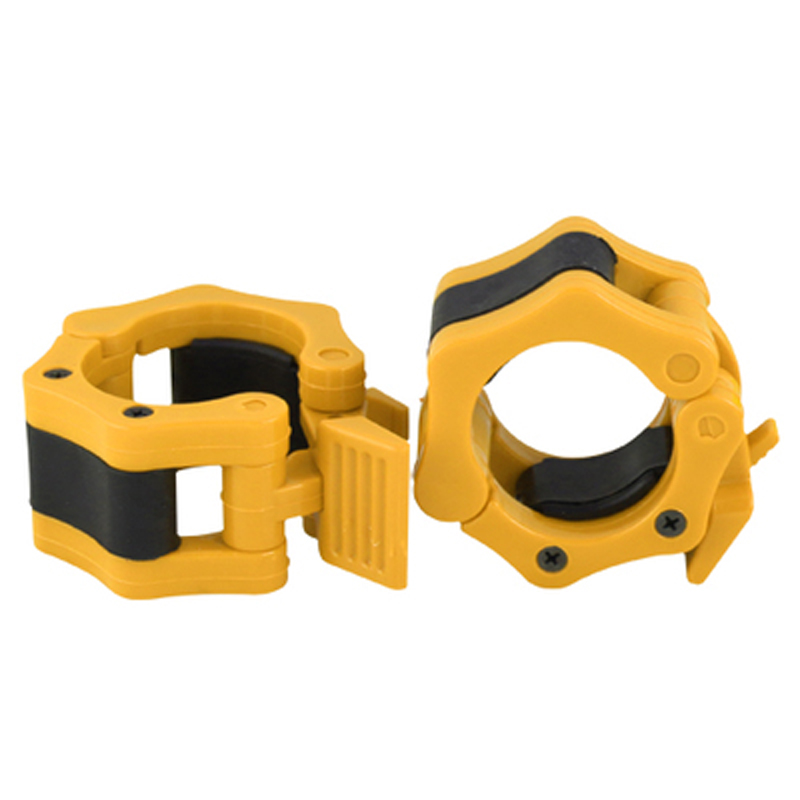Diameter 50 Mm Yellow Color New 1 Pair Lock Jaw Barbell Collars Clamps For Olympic Bars - Crossfit Exercise 2pcs/lot