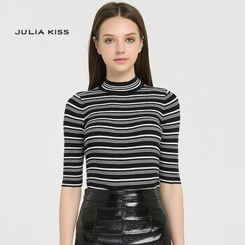 2016 primavera nueva llegada mujeres vintage blanco y negro rayado Camiseta de punto cuello alto media manga de punto Tops