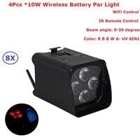 8 4 pçs/lote Novo Par Luzes Da Bateria de Alta Qualidade X 10W RGBWA-UV Sem Fio DMX & Battery Led Stage Par luzes Para Dj Disco Férias