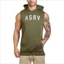 Herren ASRV Spezialeinheiten Muscle Kapuzenweste Singuletts Tank Tops Stringer Bodybuilding Fitness Seitlichem Reißverschluss Tees