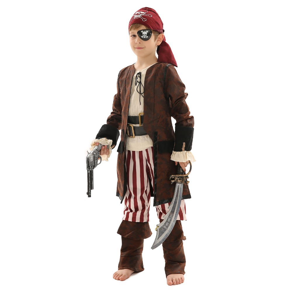 Kids Luxury Pirates Costume For Cosplay Theme Party Role-Play Captain Jack Dress Colorful Medieval Knight Warrior Costume