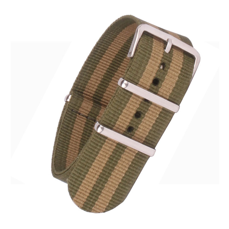 18mm 20mm 22mm Nylon Green/Gold watchbands bracelet Cambo Army Military nato fabric Woven Watch Strap Band Buckle belt 22 mm wholesale stripe cambo solid black watch 22 mm multi color army military nato fabric nylon watchbands strap bands buckle 22mm